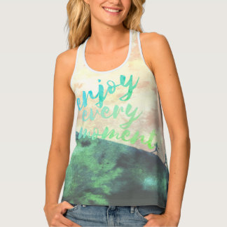 Green Watercolor Jogging Running Typography Tank Top