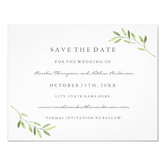 Green Watercolor Leaf Wedding Save The Date Card