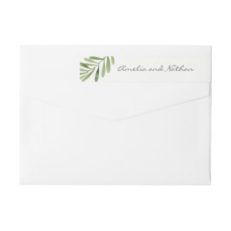 Green Watercolor Leaf Wrap Around Label