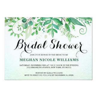 Green Watercolor Leaves  Bridal Shower Invitation