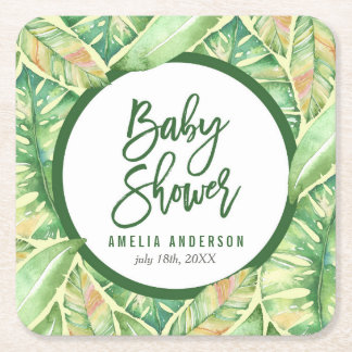 Green Watercolor Leaves Tropical Baby Shower Square Paper Coaster