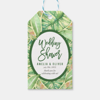 Green Watercolor Leaves Tropical Wedding Shower Gift Tags