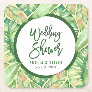 Green Watercolor Leaves Tropical Wedding Shower Square Paper Coaster