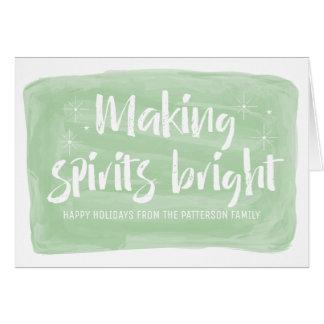 Green Watercolor Making Spirits Bright Holiday Card