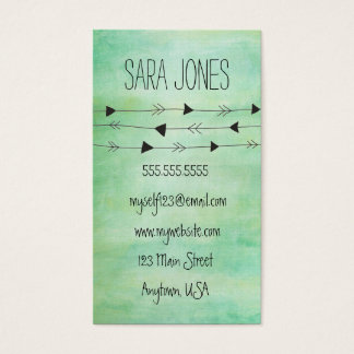 Green Watercolor Modern Arrows Business Card