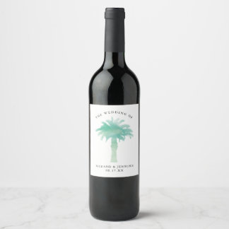 Green Watercolor Palm Tree Wedding Wine Label