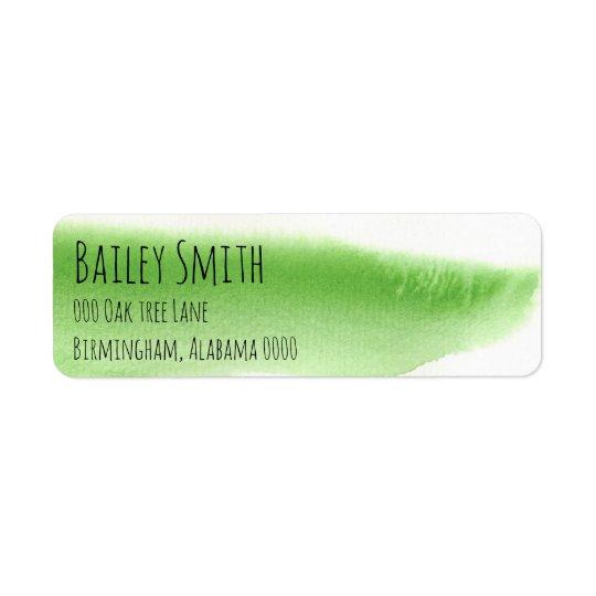 green watercolor pattern trendy address label fun