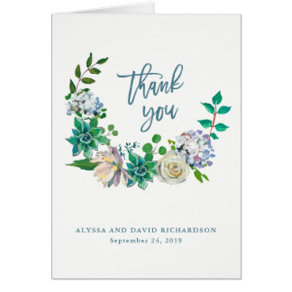 Green Watercolor Succulents and Flowers Thank You Card