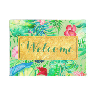 green watercolor tropical jungle welcome doormat