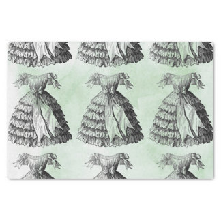 Green Watercolor Vintage Dress Repeat Tissue Paper