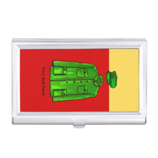 Green Watercolour Chairman Mao Coat and Hat Business Card Holder