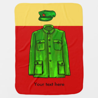 Green Watercolour Chairman Mao Coat and Hat Swaddle Blankets