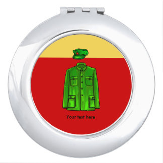 Green Watercolour Chairman Mao Coat and Hat Travel Mirror