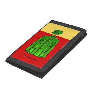 Green Watercolour Chairman Mao Coat and Hat Tri-fold Wallets