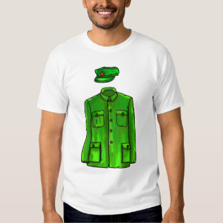Green Watercolour Chairman Mao Coat and Hat Tshirts