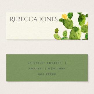 GREEN WATERCOLOUR DESERT CACTUS FLOWER  ADDRESS MINI BUSINESS CARD
