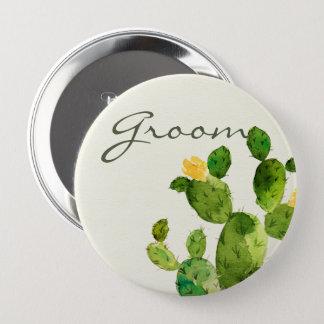 GREEN WATERCOLOUR DESERT CACTUS FLOWER  GROOM 4 INCH ROUND BUTTON