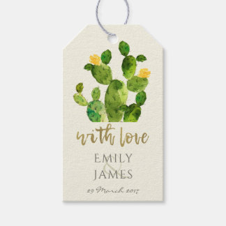 GREEN WATERCOLOUR DESERT CACTUS FLOWER  MONOGRAM GIFT TAGS