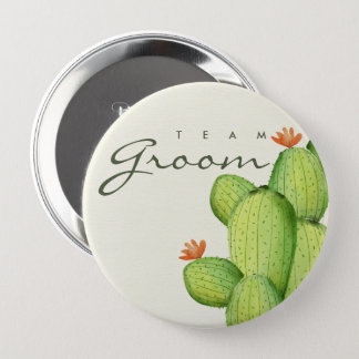 GREEN WATERCOLOUR DESERT CACTUS FLOWER  TEAM GROOM 4 INCH ROUND BUTTON