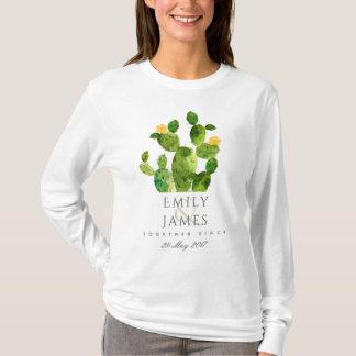 GREEN WATERCOLOUR DESERT CACTUS SAVE THE DATE GIFT T-Shirt