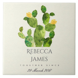 GREEN WATERCOLOUR DESERT CACTUS SAVE THE DATE GIFT TILE