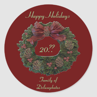 Green Waterloo Wreath Classic Round Sticker