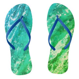 Green Waves Flip Flops