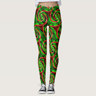 green waves swirls classy trendy Leggings