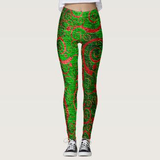 green wavy swirls christmas Leggings