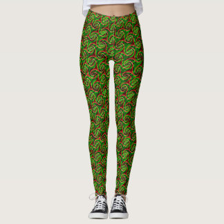 green wavy swirls classy trendy Leggings