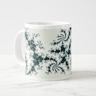 Green Webs - delicate fractal lace Large Coffee Mug