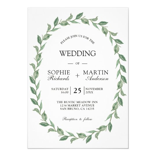Green Wedding | Botanical Wreath Modern Typography Card