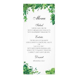 Green wedding menu outdoor. Summer dinner menu