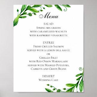 Green wedding menu poster. Summer dinner menu Poster