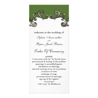 green Wedding program Custom Rack Card