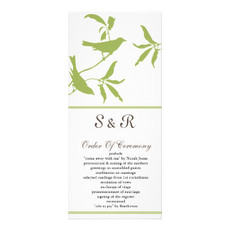 green Wedding program Rack Card Design
