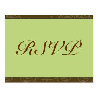 Green Wedding RSVP  Postcard