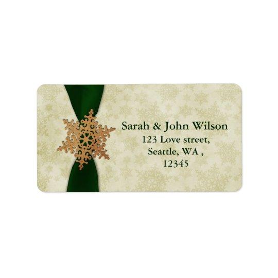 green wedding snowflake return address label