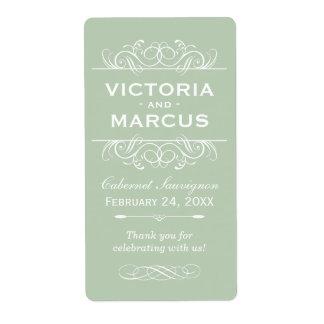 Green Wedding Wine Bottle Monogram Favour Labels