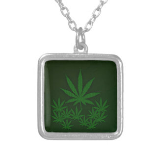 Green Weed Silver Plated Necklace