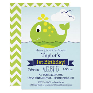 Green Whale Birthday Party Card