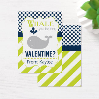 Green Whale Valentine Business Card