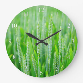Green Wheat Large Clock