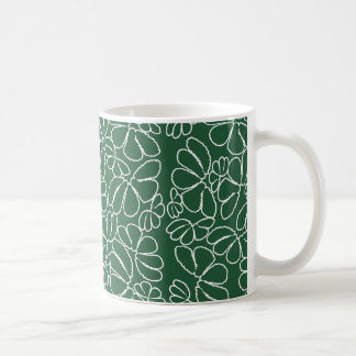Green Whimsical Ikat Floral Petal Doodle Pattern Coffee Mug