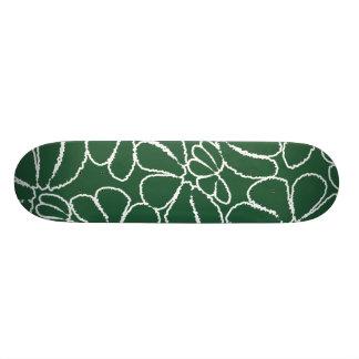 Green Whimsical Ikat Floral Petal Doodle Pattern Skate Board Deck