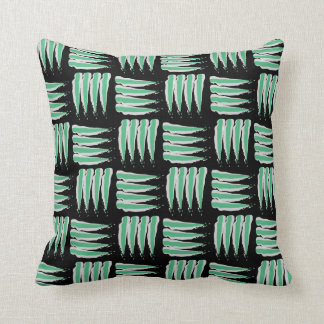 Green & White Abstract Brush strokes Pattern Throw Pillow