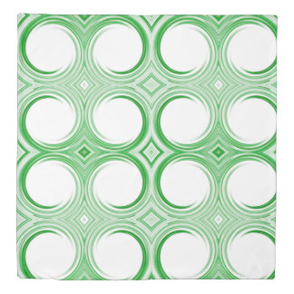 Green White Abstract Swirl Pattern Duvet Cover
