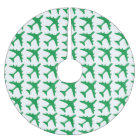 Green white airplane pattern tree skirt