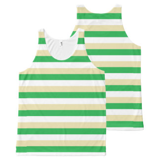 Green, White and Beige Stripes All-Over-Print Tank Top