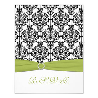 Green, White, and Black Damask II RSVP Card